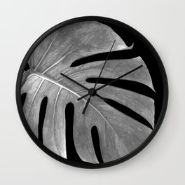Black and White Monstera Leaf Wall Clock