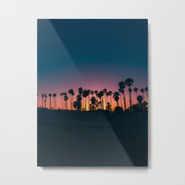 Pink And Purple Palm Tree Sunset Silhouette Metal Print