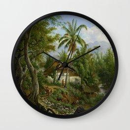 Indisch landschap, Maurits E.H.R. van den Kerkhoff, 1858 - 1900 Wall Clock