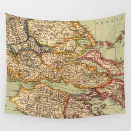 Vintage Map of Greece (1903) Wall Tapestry