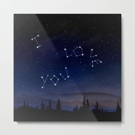 I love You Stars Design Metal Print