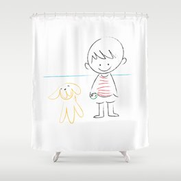 child and puppy Shower Curtain