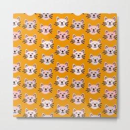 Cat pattern in mustard background Metal Print