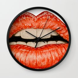lips with teeth mouth with woman Wall Clock
