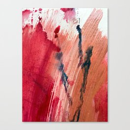 Blushing [2]: a vibrant, minimal abstract in pink, red, and blue details Canvas Print