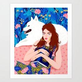 Girl and white dog Art Print
