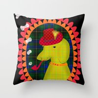 the hound Throw Pillows featuring smoking hound by Elisandra