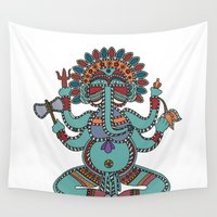 ganesha Wall Tapestries featuring Lord Ganesha by Rceeh