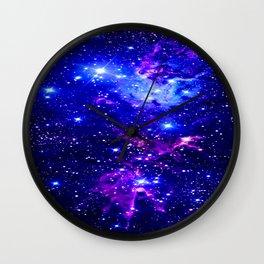 Fox Fur Nebula Galaxy blue purple Wall Clock