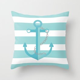 AFE Nautical Aqua Ship Anchor Throw Pillow