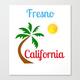 Fresno California Palm Tree and Sun Canvas Print