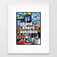 gta v Framed Art Prints featuring Grand Theft Autobot (GTA G1 Transformers) by Demonlinks