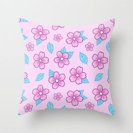 Sakura // Pink Throw Pillow