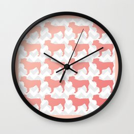 Coral Mini Aussie on Chevron Wall Clock