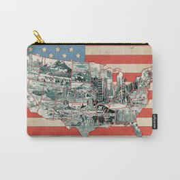 usa map urban city collage Carry-All Pouch