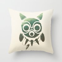 mononoke Throw Pillows featuring Mononoke by Kiana