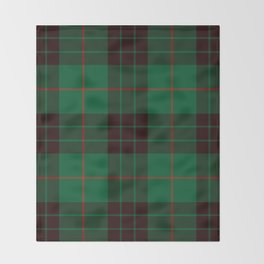 Dark Green Tartan with Black and Red Stripes Throw Blanket