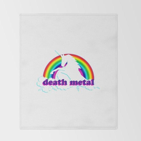 Funny Death Metal Unicorn and Rainbow by stilleskyggerart