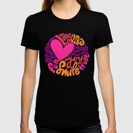 Love. Kiss. Laugh. Loy. Smile. Hugs. Fun. Trust. Hand-lettered print T-shirt