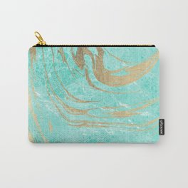 Modern faux gold turquoise white elegant marble Carry-All Pouch