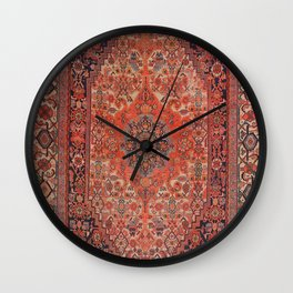 Antique Hamadan 19th Century Authentic Colorful Deep Rich Red Redish Vintage Patterns Wall Clock