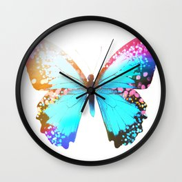Turquoise Butterfly Wall Clock