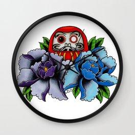 Daruma Doll Peony Flowers Tattoo Wall Clock
