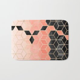 Black And Coral Cubes Bath Mat