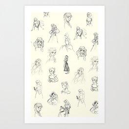 Sketched Girls Art Print