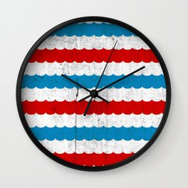 The Sailor - Vintage Nautical Striped Waves RWB Wall Clock