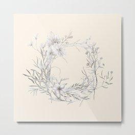 Spun Cotton Floral Wreath Metal Print