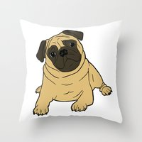 pug Throw Pillows featuring PUG by Elena O'Neill