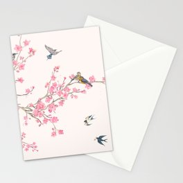 Birds and cherry blossoms Stationery Cards