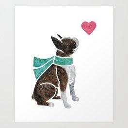 Watercolour Boston Terrier Art Print