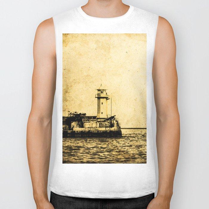 Old Lighthouse (vintage) Biker Tank