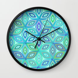 Mint floral pattern Wall Clock