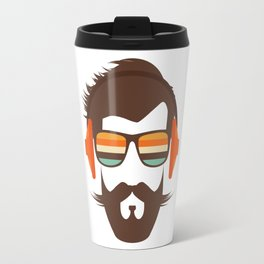 Hipster Face with Headphone Travel Mug