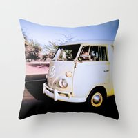 volkswagon Throw Pillows featuring vintage vw van in tucson by robertbuttery