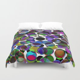 Cluttered Circles III - Abstract, Geometric, Pastel Coloured, Circle Patterned Artwork Duvet Cover