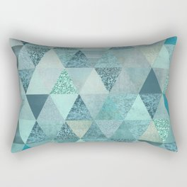 Glamorous Blue Glitter And Foil Triangles Rectangular Pillow