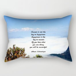 Happiness Is The Key To Success Uplifting Inspirational Quote With Blue Sky Filled With Clouds Rectangular Pillow
