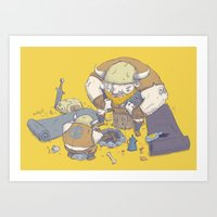 vikings Art Prints featuring Posturing Vikings by Barry Young