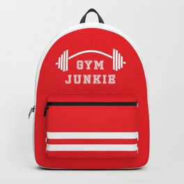 Gym Junkie Duffel Gym Sports Leisure Bag Red White Backpack