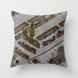 Wintery Town Throw Pillow
