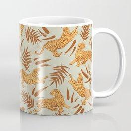 Vintage Golden Tigers Pattern / Big Cats, Leaves, Nature Coffee Mug