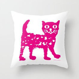 Magenta cat, cat pattern, cat design Throw Pillow