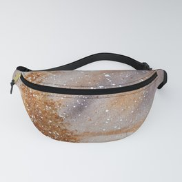 Magical Gold Christmas Tree in Snowy Night Watercolor Fanny Pack
