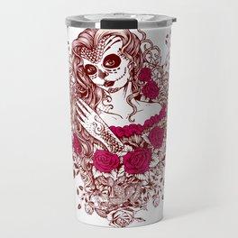 Sexy Woman zombie WITH Flower - Razzmatazz Travel Mug