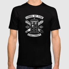 Tardis Lords Of Time MEDIUM Black Mens Fitted Tee