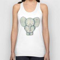 elephant Tank Tops featuring Cute Elephant by Mike Koubou